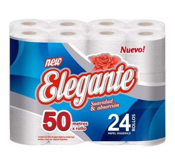Papel Higienico Simple Hoja 50 mt x Rollo Elegante